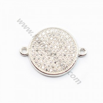 Sterling Silver 925 rhodium ROND& zircons 14.50mm with ring 2.5mm X 1 pc