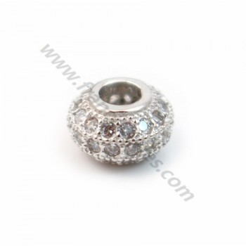 Rondelle with strass rhodium silver 925 4.5x7.5mm x 1pc