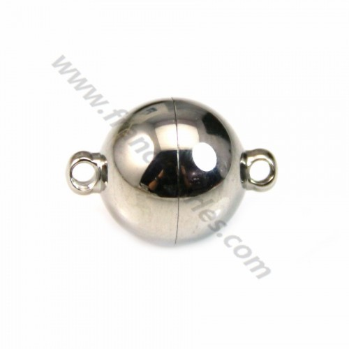 Magnetic clasp of round shape, steel, measuring 10mm x 1pc