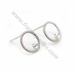 Ear stud with ring, in 925 sterling silver, 12mm x 2pcs