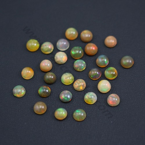 Ethiopian opal in cabochon, multicolored, in round shape, 6mm x 1pc