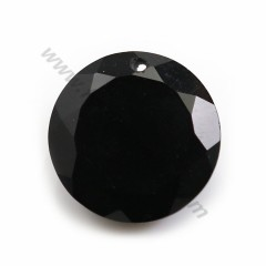Pendant in agate of black color, in shape of round faceted, 15mm x 1pc