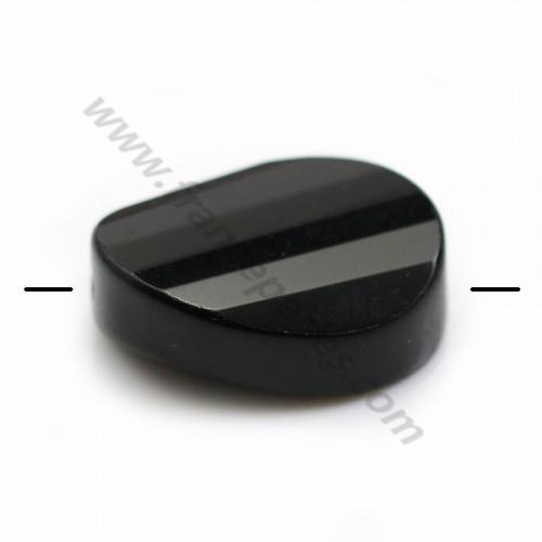 Agate de couleur noire, de forme diverses, 18 * 25mm x 1pc