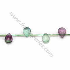 Fluorite multicolor, in the shape of a flat drop, 13 * 18mm x 39cm