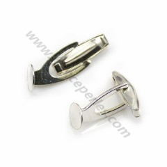 Cufflink, in 925 silver for 8mm round cabochon, 26 * 9mm x 2pcs