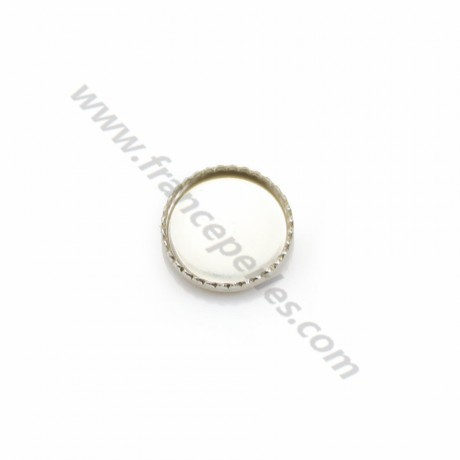 Set in 925 silver, for 8mm round cabochon x 2pcs