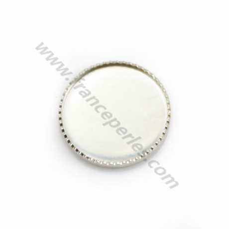 Set in 925 silver, for 14mm round cabochon x 1pc