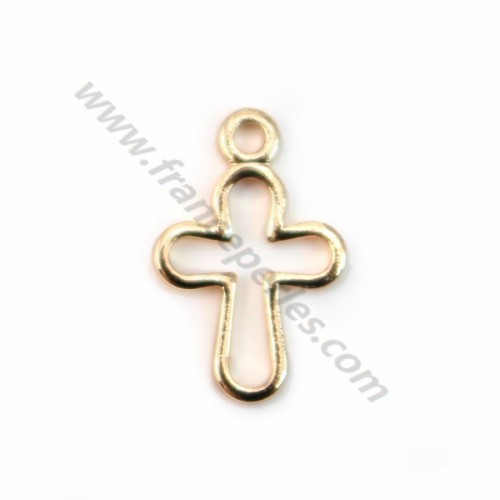 "Cross cutout by ""flash"" gold on brass 8x12mm x 4pcs"
