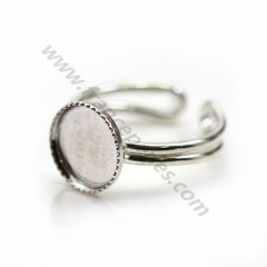 Ring in 925 silver, with a 10mm round support x 1pc
