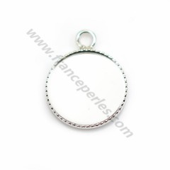 Pendant in 925 silver, with set for round cabochon of  14mm x 1pc
