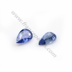 Blue sapphire, crimped, cut in pear, 4 * 6mm x 1pc