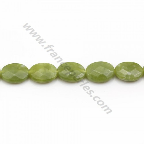 Canadian jade, in oval faceted shape, green color, 10 * 14mm x 2pcs