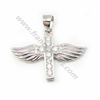 Sterling Silver 925 Rhodium pendant  & Zircon 22*24mm X 1pc