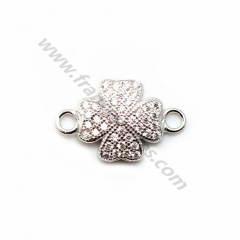 925 sterling silver & rhinestone four-leaf clover spacer 9x15mm x 1pc
