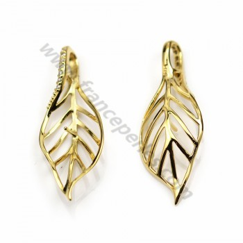 Pendant in silver gilt & zirconium, in shape of a leaf, 36 * 14mm x 1pc