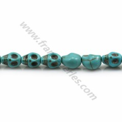 Skull made of reconstituted howlite, turquoise color, 6 * 8mm x 40cm