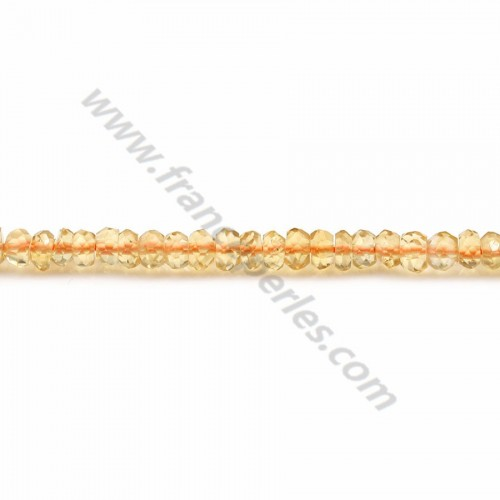Citrine orange, en forme de rondelle facetté,  2 * 3-4mm x 40cm