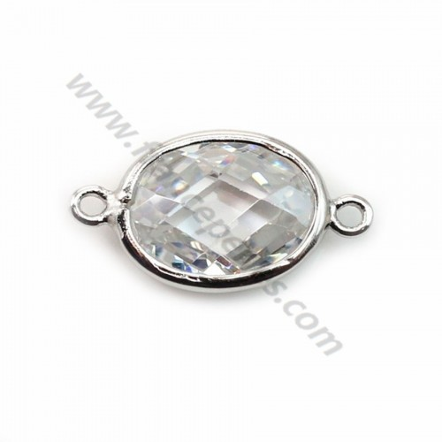 Spacer sterling silver 925  and  zirconium crystal 9.5*17.5mm x 1pc