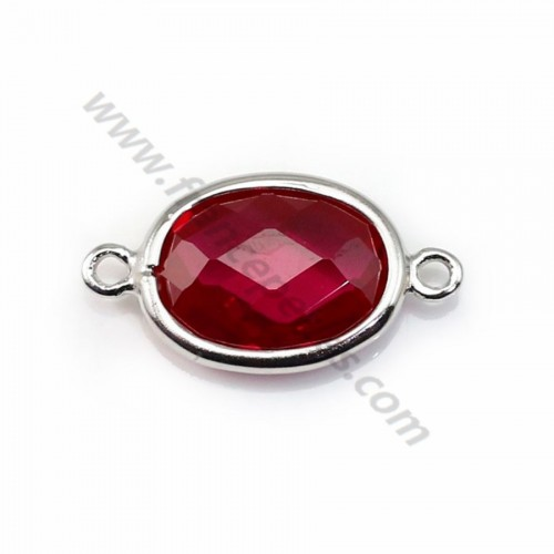 Spacer sterling silver 925  and  zirconium ruby 9.5*17.5mm x 1pc