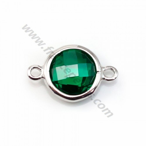 Spacer sterling silver 925 and  zirconium emerald round 9.5*14.5mm x 1pc