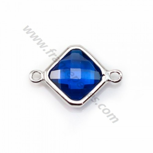 Spacer sterling silver 925 and zirconium sapphire rhombus 10*17mm x 1pc