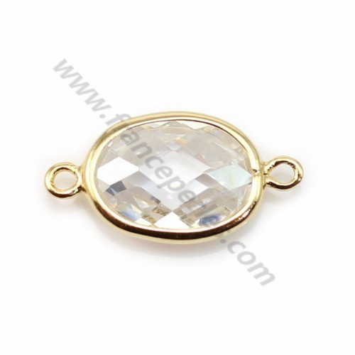 Spacer sterling silver 925 golden and  zirconium crystal 9.5*17.5mm x 1pc