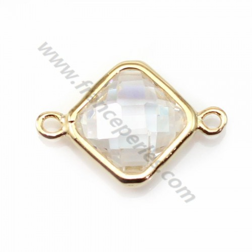 Spacer sterling silver 925 golden and zirconium crystal rhombus 10*17mm x 1pc
