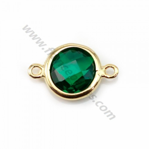 Spacer sterling silver 925 golden and  zirconium emerald round 9.5*14.5mm x 1pc