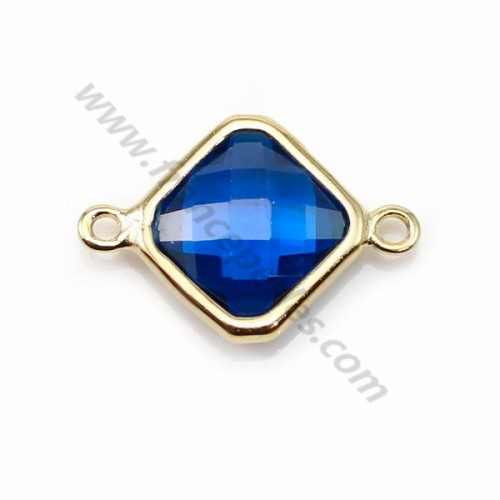 Spacer sterling silver 925 golden and  zirconium sapphire rhombus 10*17mm x 1pc