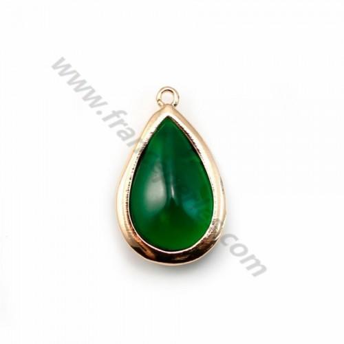 Verre coloré vert en goutte serti sur métal doré 13.5x22mm x 1pc