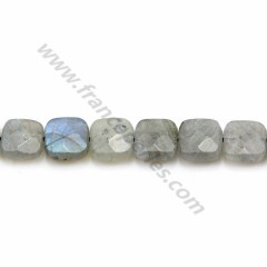 Labradorite grey, in a faceted squared shaped, 8mm x 4pcs