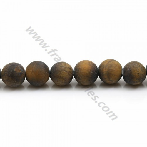 Matte tiger's eye, in a round shape 8mm x 38cm