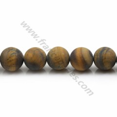 Matte tiger's eye, in a round shape 10mm x 39cm