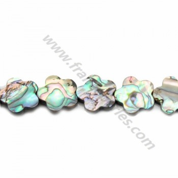 Abalone mother-of-pearl flower beads 10mm x 4pcs
