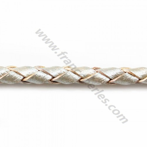 Silver metallized  Braided leather cord 4.0mm  x 50cm
