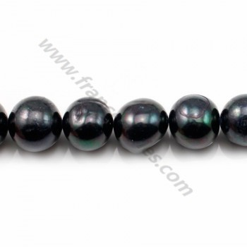 BLACK round freshwater pearl 11-12mm X 40cm
