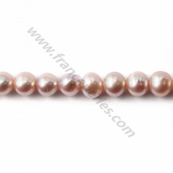 Mauve freshwater pearl round 7mm X 40 cm