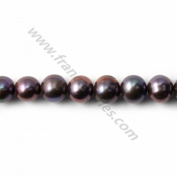 Dark grey Freshwater Pearl Round 7-8mm X  40cm