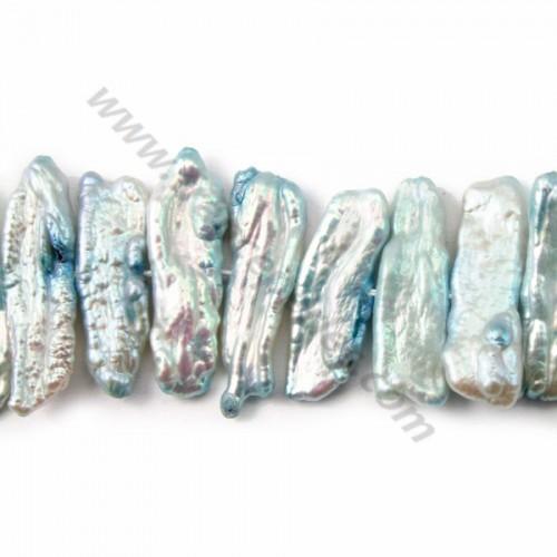 bleu freshwater pearl baroque 16mm X 40cm