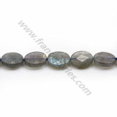 Labradorite grey, in the shape of a faceted ovale 8*10mm x 38cm