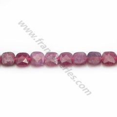 Red Ruby, in faceted square shape 6mm x 39cm