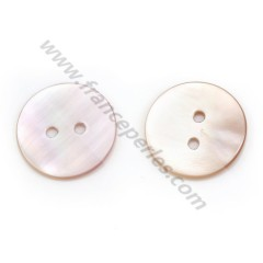 Pink mother-of-pearl round button 2x20mm x 1pc