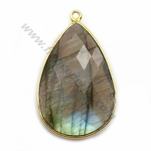 Labradorite pendant set in golden silver, in shape of a drop 21*31mm x 1pc