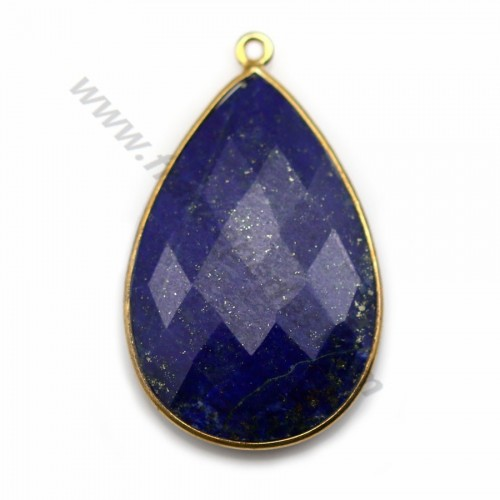 Lapis lazuli pendant set in gold-plated silver, in the shape of a faceted drop, 21*31mm x 1pc