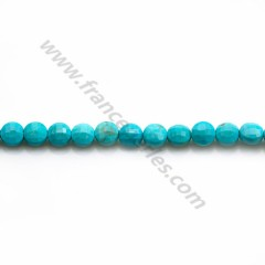 Turquoise reconstituted in the shape of round faceted, 4mm x 40cm