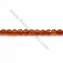 Hessonite rond plat facette 4mm x 8pcs