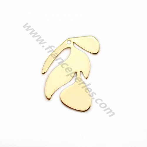 "Charm in the shape of a flower, plated by ""flash"" gold on brass 21*18mm x 4pcs"