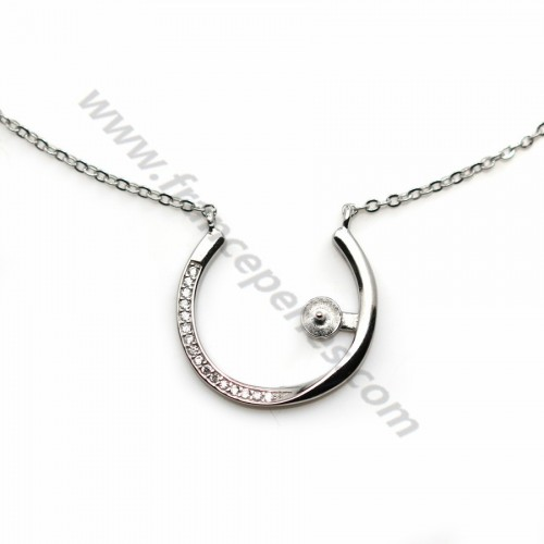Chain in 925 sterling silver rhodium, oval mesh & zirconium, for semi pierced pearl x 45cm