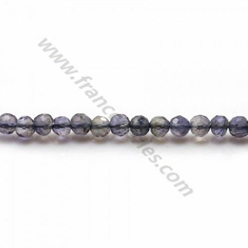 Iolite (cordiérite) couleur bleu-violet, de forme ronde facetté, de taille 3.5-4mm x 35cm