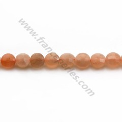Orange sun stone, in round faceted flat shape, 4.5mm x 39cm